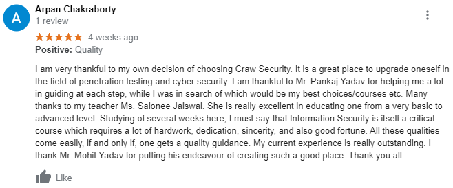 Arpan Chakraborty reviewed about Craw Security on Google