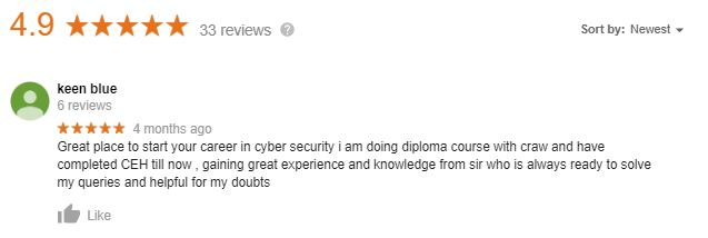 keen Blue Talks About the Cyber Security Course by Craw Cyber Security