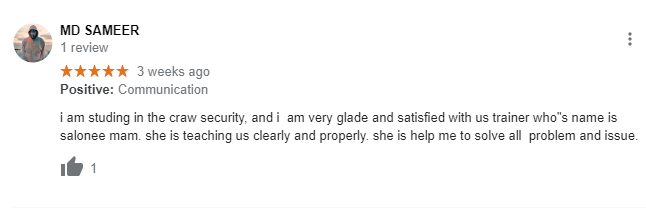google review MD SAMEER reviewed about Craw Security on Google
